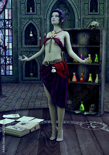 Fotografia A sorceress standing with her arms open praying in a magical temple