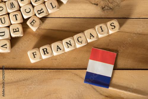 Leinwand Poster Flagge von Frankreich und das Wort Französisch