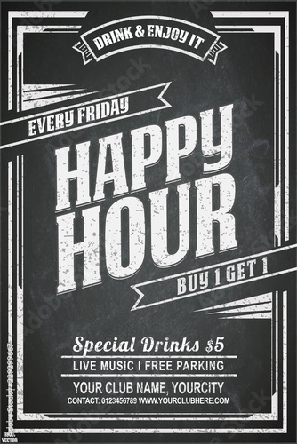 Fotografie, Tablou Vintage chalk drawing for a happy hour at the bar
