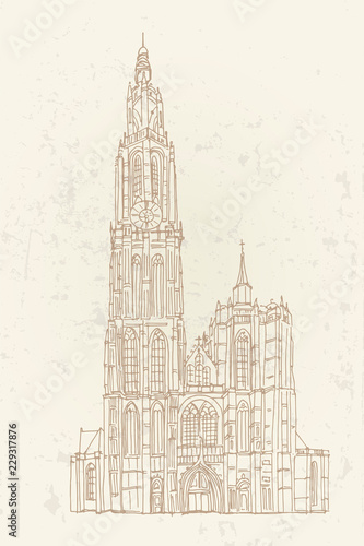 Photographie Vector sketch of Cathedral of Our Lady, Antwerp, Belgium