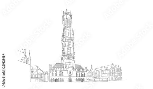 Fotografia Vector sketch of Belfort van Brugge -  famouse 12th-century belfry Belfort of Bruges and Grote Markt square, Belgium