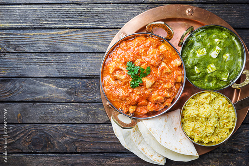 Assorted indian food