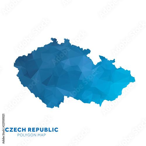 Wallpaper Mural Map of Czech Republic. Blue geometric polygon map.