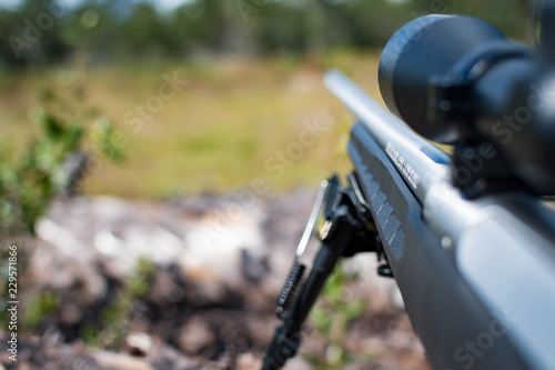 Valokuvatapetti Scoped hunting rifle with bipod resting on a downed tree and looking down range