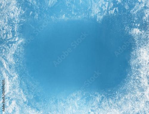 Obraz na płótnie Frost patterns on frozen window as a symbol of Christmas wonder.