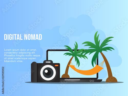 Fototapeta Digital nomad concept illustration vector design template