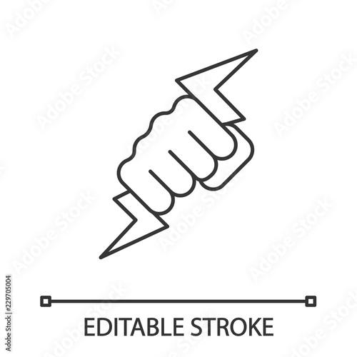 Valokuva Hand holding lightning bolt linear icon
