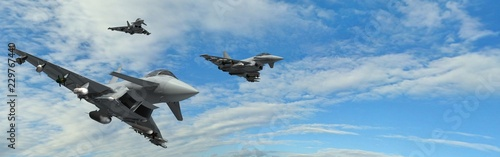Fotografiet military fighter jets - modern armed military fighter jets flys in formation