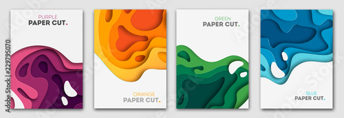 Fotografia Vertical banners set with 3D abstract background and paper cut shapes
