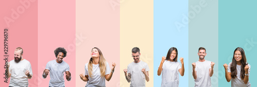 Fotografiet Collage of different ethnics young people wearing white t-shirt over colorful is