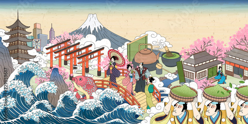 Carta da parati Retro Japan street scenery