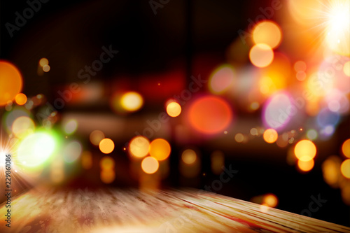 Night bar bokeh background