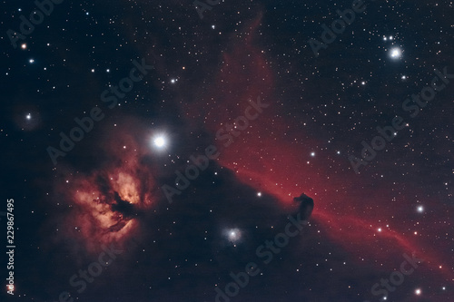 The Horsehead and Flame Nebula in the constellation Orion as seen from Mannheim in Germany.