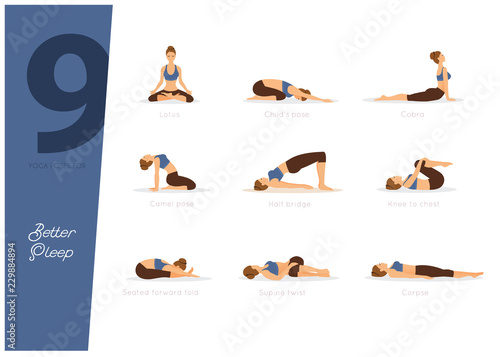 Canvas Print 9 yoga poses for better sleep