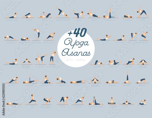 Fotografia +40 Yoga Asanas with names