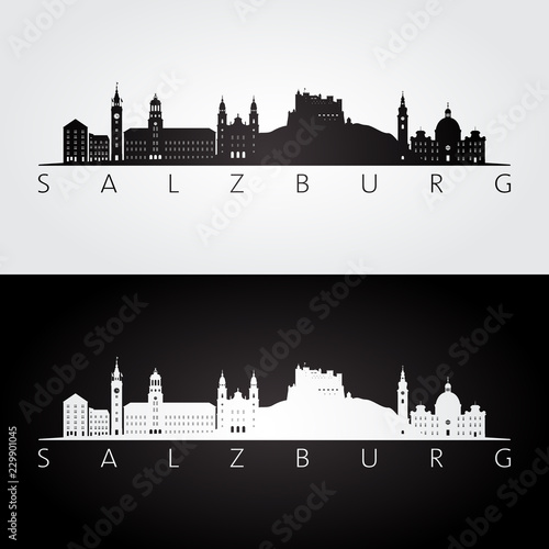 Fototapeta premium Salzburg panoramę i zabytki sylwetka, czarno-biały design, ilustracji wektorowych.