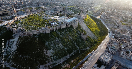 Canvas Print citadel of Aleppo in aerial view, filmed by a drone, syria