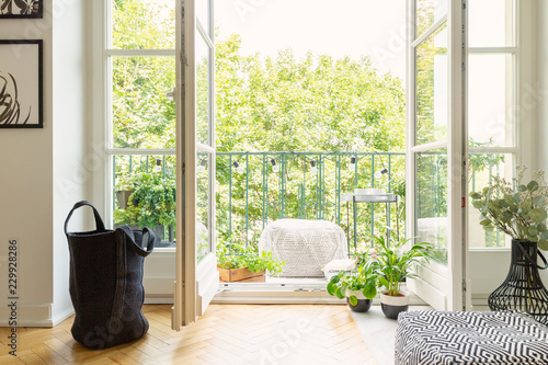 Fotografia Lot of green plants and open balcony door in modern apartment, real photo
