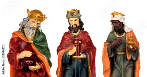 Foto The three wise men and baby Jesus