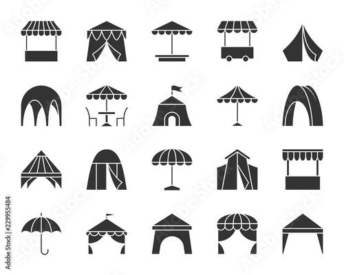 Carta da parati Tent black silhouette icons vector set