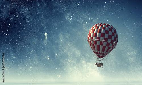 Photo Air balloon in sky. Mixed media