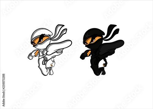 Canvas Print cartoon ninja warrior character drawing vector logo illustration