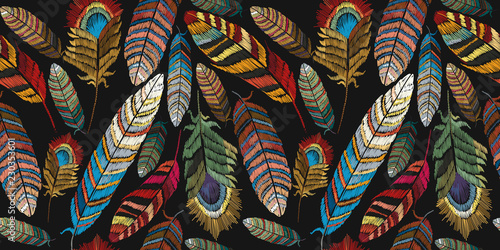 Feathers embroidery seamless pattern. Beautiful tropical peacock feathers emb...