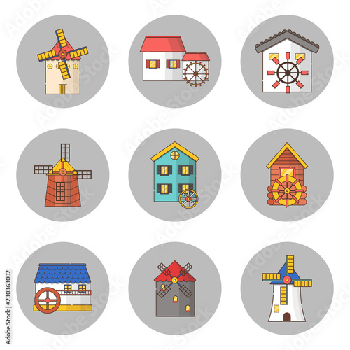 Fotografia Vector set of windmills and watermills icons isolated on background