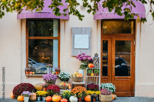 Storefront of cozy flower shop with flowers, pots, pumpkins beautiful autumn decor Fototapeta
