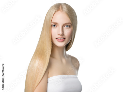 Fotografía Blonde long hair woman with healthy long hairstyle beauty isolated on white