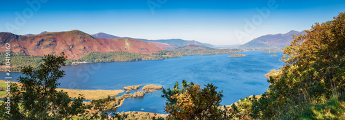 Leinwand Poster Panoramic View of Derwent Water / Derwent Water overlooked by Cat Bells and Skid