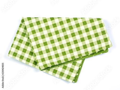 green checkered napkin table clothes  on white background.