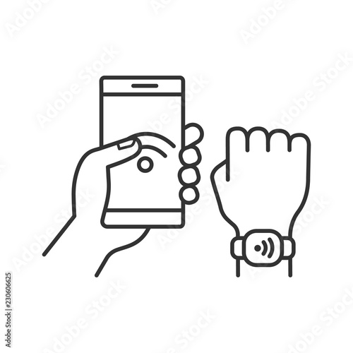 Fotografia NFC bracelet connected to smartphone linear icon