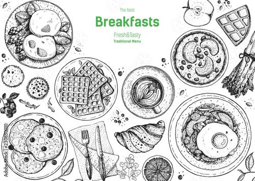 Billede på lærred Breakfasts top view frame
