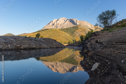 Camporredondo reservoir with Espiguete peak as background, Palencia province, Spain