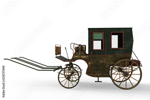 Photo carriage in a white background