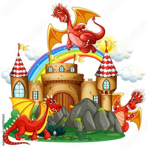 Obraz na plátně Red dragon at the castle