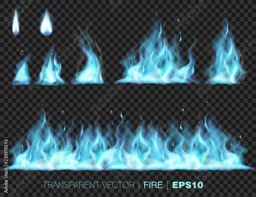 Wall mural Collection of blue realistic fire flames