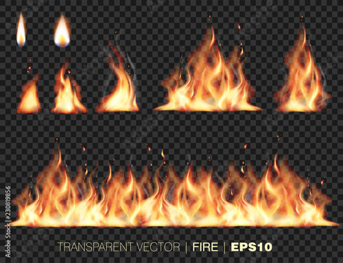Fototapeta Collection of realistic fire flames