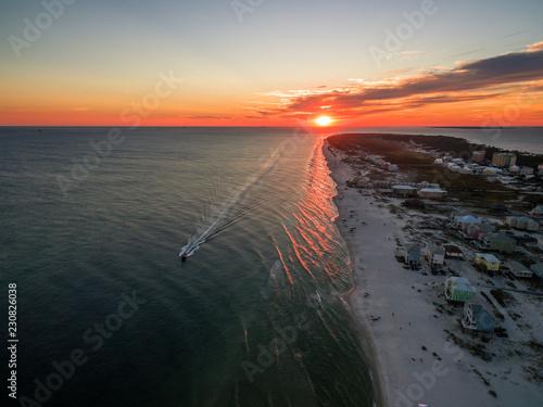 Beautiful Ocean Sunset - Drone/Aerial Photograph of Gulf Shores/Fort Morgan Alabama Fototapeta