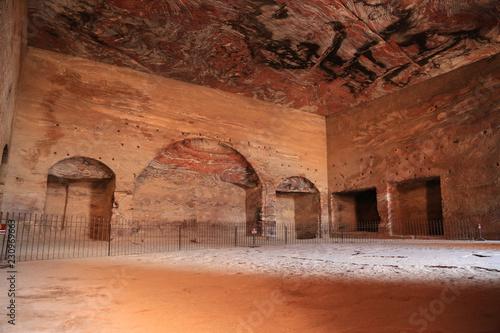 Interior chamber of Urn Tomb of Royal Tombs, ancient Rose City of Petra, Jordan Fotobehang