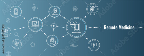 Fotografija Telemedicine abstract idea with icons illustrating remote health and software