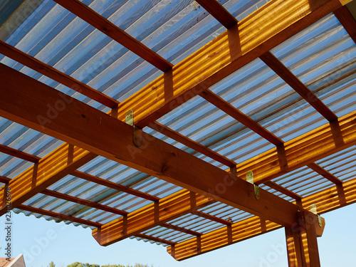 Obraz na plátne Modern design wooden pergola on a terrace
