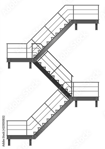 Photo Drawing of the fire escape for the facade