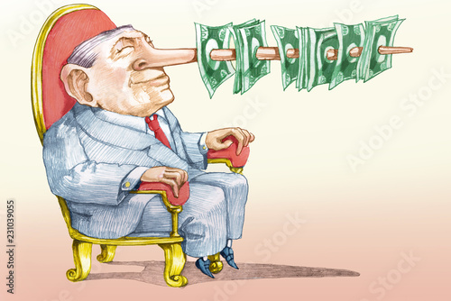 Obraz na płótnie the price of a false candidate allegory of corruption political cartoon