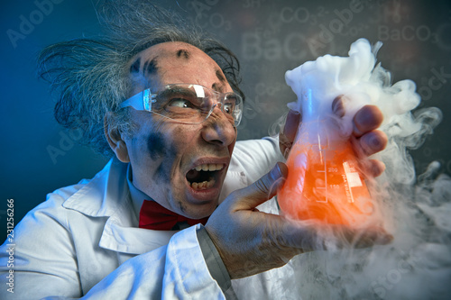 Angry scientist with his failed experiment