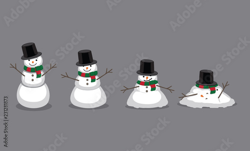 Canvas Print Snowman Melting Cartoon Vector Illustration