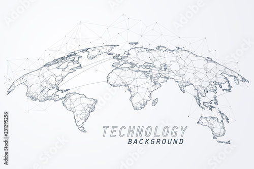Abstract of world network, Edge and vertex of world connection #231295256