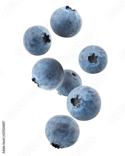 Foto Falling blueberry, clipping path, isolated on white background, full depth of fi