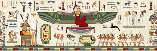 Fototapeta Ancient egypt background.Egyptian hieroglyph and symbol